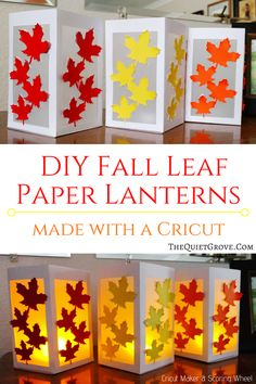 DIY Fall Leaf Paper Lanterns made with a Cricut via Learn how easy these beautiful Fall Leaf Paper Lanterns are to make with Your Cricut, Cardstock, Vellum, and Glue! Perfect budget-friendly decoration for Fall! Paper Lantern Making, Paper Lanterns, Fall Lanterns, Ideas Lanterns, Fall Crafts For Kids, Diy And Crafts, Fall Paper Crafts, Cricut, Diy Wedding Shoes