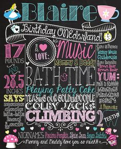 Alice in ONEderland 1st Birthday Chalkboard by CustomChalkPosters