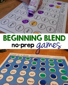 These no-prep reading games are perfect for teaching beginning blends. Just read the words and be first to get four in a row!