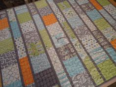 Baby Quilt, Modern Baby Quilt - Backyard Baby Boy Quilt - Gray Grey Aqua Orange Quilt - Craft ~ Your ~ Home Quilting Projects, Quilting Designs, Sewing Projects, Quilting Ideas, Quilting 101, Patchwork Quilting, Fun Projects, Project Ideas, Orange Quilt