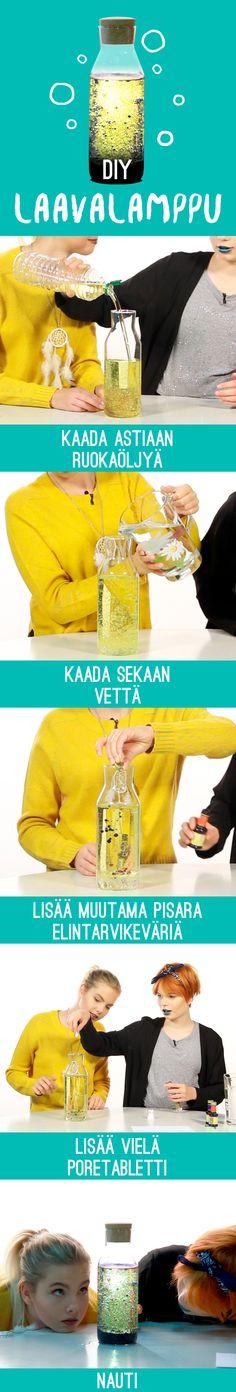 DIY laavalamppu bileisiin tai vaan tylsyydentappamiseen! Tarvitaan:  - vettä - ruokaöljyä - poretabletti - elintarvikevärejä - pullonmainen astia (muovia tai lasia)
