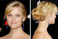 Reese Witherspoon updo. cute bun, sans bangs.
