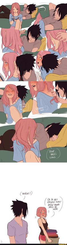 "🐺""Doesn't Sakura look better with her hair short?""🐺"" NOPE YOU DID NOT!""❤""Calm down Shoku."" 🐺( runs for Sasuke ) ❤( grabs shirt ) 🖤"" I'm gonna take a nap. Anime Naruto, Naruto Comic, Naruto Funny, Naruto And Sasuke, Naruto Uzumaki, Naruhina, Kakashi, Anime Couples Manga, Cute Anime Couples"