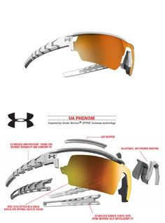 Under Armour Phenom Sunglasses in Satin White with Orange Multiflection Lens - Inspired by Under ArmourTM SPINE footwear technology, UA Phenom's advanced design makes this the ultimate sport sunglass.  Co-molded rubber temple with Spine inspired self-articulatory fit.  Ultraligh... - Sunglasses - Apparel - $149.95