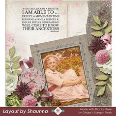 Shabby Rose by #GingersScrapsnPixels is a Vintage kit/Bundle filled with Vintage elements and beautiful roses that make this perfect for scrapping Heritage photos and Wedding and Romance.  Grab this while it is on sale for 45% off from August 12th to 25th.  #godigitalscrapbooking #digitalscrapbooking #CTHS