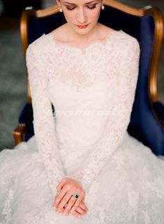 Long sleeved lace wedding dress