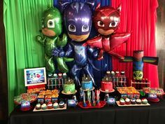Today you will learn how to organize and decorate the best themed birthday party of heroes in pajamas, because we attach a complete guide, where you will 4th Birthday Parties, Birthday Party Decorations, 3rd Birthday, Birthday Ideas, Pj Mask Decorations, Pjmask Party, Party Ideas, Pj Masks Birthday Cake, Festa Pj Masks