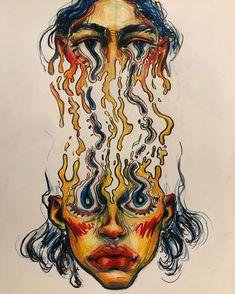 Kunst Inspo, Art Inspo, Dope Kunst, Art Sketches, Art Drawings, Trippy Drawings, Drawing Art, Arte Sketchbook, A Level Art