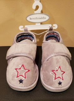 3d82171b51c Details about NWT Koala kids Toddler Unisex Boys Girls Grey Slippers~  Embroidered Stars Sz 7 8
