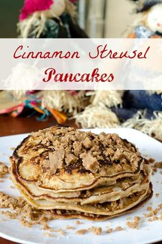 Dessert for breakfast---in a pancake! Enjoy this recipe that uses the fave spices of fall and tops it all off with a home-made streusel topping!