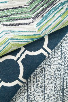Robert Allen Indoor Outdoor Open Air Fabric Collection Using Sunbrella Yarns Blue And White