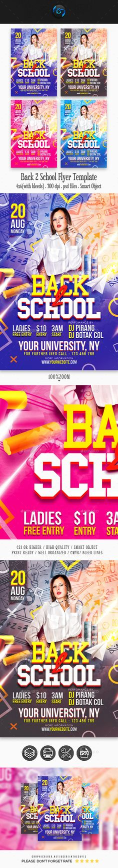 Buy Back 2 School Flyer Template by on GraphicRiver. Back 2 School Flyer Template Features : 1 PSD files, Fully Layered Adobe Photoshop Size inchi (with bleed). Free Flyer Templates, Event Flyer Templates, Birthday Flyer, School Template, Fb Timeline Cover, Halloween Flyer, Sports Flyer, Festival Flyer, Back 2 School