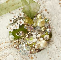 Greens and Whites Vintage Jewelry Embellished Ornament by glassbeadtreasures, via Flickr