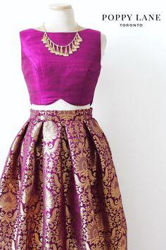 Pretty Purple Brocade Skirts with matching dupattas. Shop now at poppylane.ca