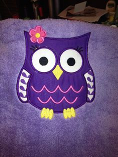 Purple Owl Bath Towel