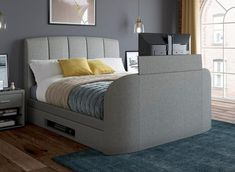 Double beds can be more than just a bed! They offer storage, and even incorporate technology such as TV's and sound systems. Tv Bed Frame, High Bed Frame, Grey Bed Frame, Upholstered Bed Frame, Upholstered Ottoman, Solid Wood Furniture, New Furniture, Tv Beds, Ottoman Bed