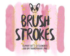 Pink Brush Strokes Clipart, Glitter Clipart, Brush Clipart, Watercolor Brush, Confetti Clipart, Scrapbooking Clipart, Design Supplies