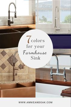 Farmhouse sinks are appreciable additions to your kitchen, and the color of sink you choose can make a significant improvement to the personality and visual interest of your home. To choose the right color for your farmhouse sink, take these 7 color scheme and design style of your kitchen into account. Copper Farmhouse Sinks, Farmhouse Sink Kitchen, Granite Kitchen Sinks, Apron Front Sink, Travertine, Classic White, Color Schemes, Kitchen Design, Personality