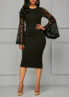 Back Slit Flare Sleeve Black Sheath Dress | Rosewe.com - USD $34.88