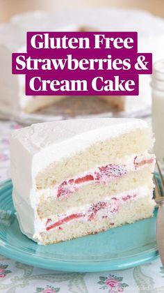Easy Gluten Free Desserts, Sugar Free Desserts, Gluten Free Cakes, Gluten Free Baking, Dairy Free Recipes, Delicious Desserts, Gluten Free White Cake Recipe, Gf Cake Recipe, Sans Gluten