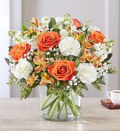 The sweet citrus shades in our charming summer bouquet bring your sentiments to life. The mix of vibrant orange roses, Peruvian lilies, white carnations and assorted greenery like baby's breath, makes special milestones and summer moments even more memorable. 800 Flowers, Types Of Flowers, Fall Flowers, Summer Flowers, Flowers Garden, Purple Flowers, Exotic Flowers, Yellow Roses, Pink Roses