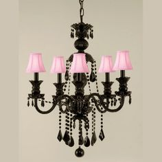 Black Crystal 5 Light Chandelier with Pink Shades