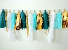 Garland tassel teal and gold tissue paper tassel // birthday // wedding // cottage chic party decor on Etsy, $29.00