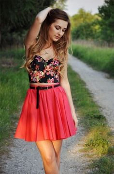 floral bustier and coral chiffon skirt