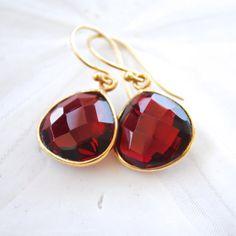 Garnet Jewel Earrings by laurenamosdesigns, $48.00