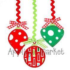 christmas ornament trio applique design - Google Search