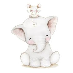 Childrens illustration Elephant baby