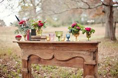 What an idea ~ an old mantel in the middle of a field ~ oh, the things you could do with this! * http://stylemepretty.com/georgia-weddings/2012/04/04/vinewood-surprise-wedding-by-paperlily-photography / Photography by paperlilyphotography.com, Floral Design by southernstems.com, Event Design by thefunkyshack.com, Day-Of Coordination by signatureweddingandevents.com