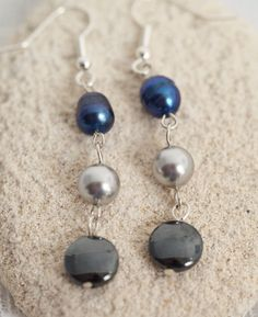 Metallic blue and silver earrings Long pearl drop by GNatCreations