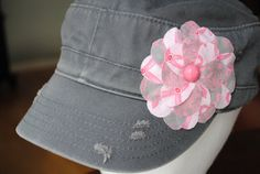 Items similar to Boutique style Flower embellished ladies cadet Hat Accessory Grey breast cancer awareness cadet style cap/Hat on Etsy Boutique Decor, Fashion Boutique, Hat Styles, Sewing Crafts, Style Me, Breast, Purses, Flower, Trending Outfits
