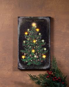 radiance lighted canvas vintage christmas tree - Lighted Christmas Wall Decorations