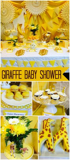 This gender neutral shower has a fun yellow giraffe theme! See more party ideas at CatchMyParty.com!
