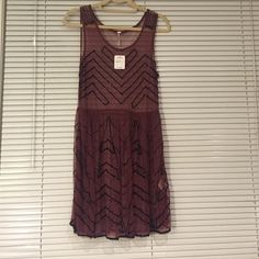 Free People Intimates tank Brand new with tags! Embellished, beaded, mesh tunic tank! Plum color with black beading. Size medium Free People Tops Tunics