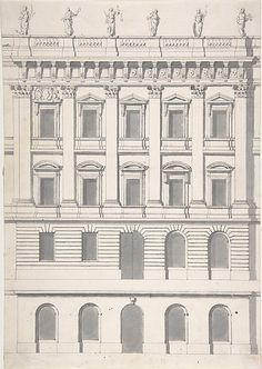 Design for a Palace Facade 18th C.  Carl Hårleman