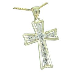 Two Tone Cross Pendant https://www.goldinart.com/shop/necklaces/gold-or-silver-without-gemstones-2/cross-pendant-14-karat-two-tone-gold #14KaratYellowAndWhiteGold, #Cross