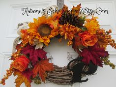 FALL DOOR WREATH....Fall Door Decor Wreath...Fall Monogram Door Wreath..Seasonal Door Wreath...Fall Season Wreath ..Thanksgiving Door Wreath by AutumnsEchoShoppe on Etsy