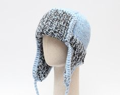 c5a2999f48a BLUE trapper hat   Unisex ear flap hat   Knitted chunky winter hat   Mens  trapper