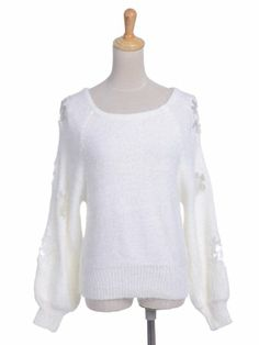 $37.90 awesome Anna-Kaci S/M Fit White Fuzzy Texture Rose Lace Insets Billow Sleeve Sweater