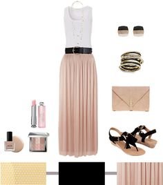 blush pleated maxi skirt = love