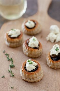 mushroom tartlets with garlic herb cheese on annie's eats.