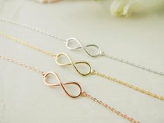 tiny infinity bracelet in gold / silver / rose gold by applelatte