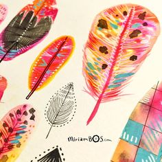 I painted some funky feathers. I enjoy the experimenting  #illustration #miriambos #paintedfeathers #drawingaday #drawdaily2016 #gouachepainting #inking  #sketchbook #sketchbookmiriambos