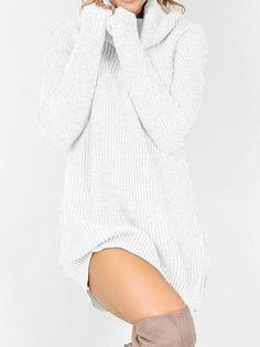 Chicnico Casual Knit Turtleneck Solid Color Sweater Dress