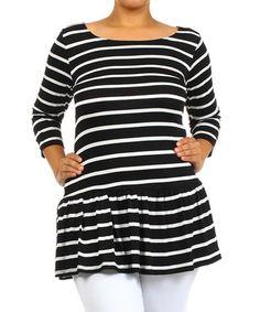 Black & White Stripe Peplum Top - Plus