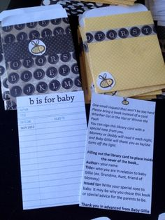 Bumble Bee Baby Shower or Birthday. Baby Shower Invitation Printable: Library Book Inserts made from scrap paper. Template found at this website http://creaturecomfortsblog.com/home/2008/8/5/its-freebie-time.html