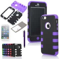 ATC Masione(TM) 3-Piece Hybrid High Impact Resistance Case Rubberized Silicone Cover For Apple iPhone 5C with Screen Protector & Stylus (Purple+Black) Masione http://www.amazon.com/dp/B00F8936J0/ref=cm_sw_r_pi_dp_eSNcub1Q58AR2